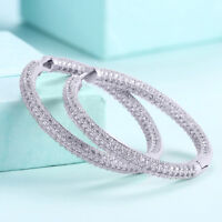 Aventura 18K White Gold Plated Inside Out Hoop Earring with Swarovski Crystals