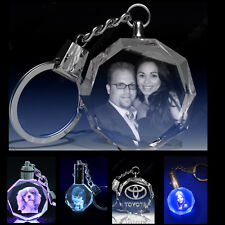 Personalized Photo Engraved  Crystal Key Chain LED Light best Fathers day gift