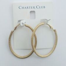 "Charter Club 2"" Gold Tone Diamond Cut Oval Hoop Earrings H957"