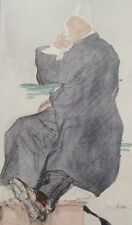 Jacques VILLON (d'après) -  Le coiffeur en attente - Croquis signé  #1959