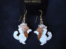 VINTAGE GENUINE CLOISONNE WHITE & BRONZE KITTENS GOLD TONE HOOK EARRINGS