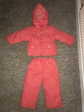 Girls Age 2-3 Snow Ski Set Outfit Thick Padded Jacket Coat And Thick Trousers