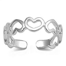 Gift Adjustable Face Height 5 mm Hearts Toe Ring Genuine Sterling Silver 925