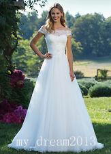 Off-the-shoulder Wedding Dress Ivory Bridal Gown Deb Custom Sz6.8.10.12.14.16.18