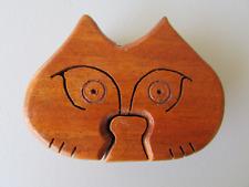 """WOODEN CAT TRINKET PUZZLE BOX for Hidden Jewelry, Stash & Treasures 4"""" x 3"""" x 2"""""""