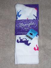 Wrangler Socks - Horses Crew - #9406 - White - Medium - Fits 9-11