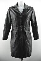 NOA NOA Womens Real Leather Long Jacket Collared Black Long Sleeve Coat Size S