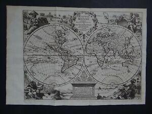 1736 Atlas  VAN DER AA  World map MAPPEMONDE