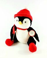 "Hallmark Christmas Holly Penguin Plush Stuffed Animal 11"" Retired Hat Scarf NEW"