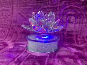 Crushed Diamond Spinner Lotus Pattern Candle Holder with  LED