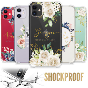 PERSONALISED CASE FLORAL INITIALS NAME SILICONE COVER FOR IPHONE 12 11 13 7 GIFT