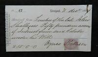 1864 Liverpool England John & Agnes Shallcross Inheritance Receipt GENEALOGY