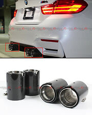 FOR 2015-2017 BMW M2 M3 M4 CARBON FIBER STAINLESS EXHAUST TIP PIPE FINISHERS X 4