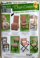 Simplicity Sewing Pattern Easy CHAIR COVERS- Home Decorating 8 Styles!