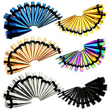 Ear Small Gauges Stretching Kit 12G-00G 14pc Steel Tapers Plugs Double O-Rings
