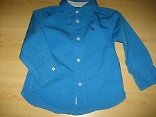 Unworn 2/3  Toddler Boys LOGG Bright Aqua Blue Button Down Shirt Long Sleeve H&M
