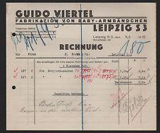 LEIPZIG, Rechnung 1933, Guido Viertel Fabrikation von Baby-Armbändchen