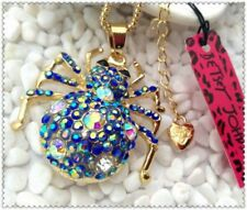 Betsey Johnson blue spider necklace & free gift