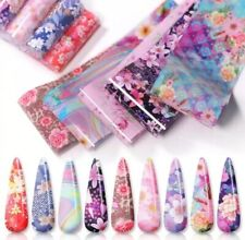 10x Nail Foil Stickers Set for Nails Flowers Quick Art Film Floral Nail Decal