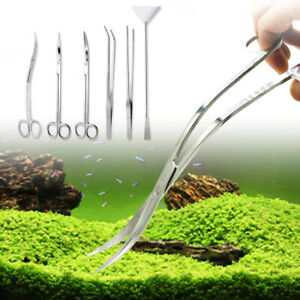 6 IN 1 AQUARIUM TANK AQUATIC PLANT TWEEZERS SCISSORS AQUASCAPING TOOL SET KITS