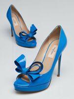 New Luxury Valentino Blue patent leather Bow Peep Toe Platform Pump Shoes 38.5
