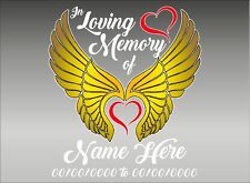 In Loving Memory / Angel Wings / Personalized Vinyl Vehicle Decal Sticker