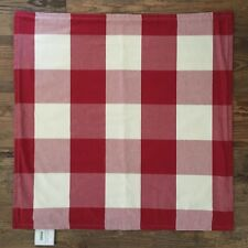 "NEW Pottery Barn BUFFALO CHECK PLAID Pillow Cover 24"" CHERRY RED IVORY Christmas"
