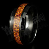 8MM Black Tungsten Carbide REAL Wood Inlay Wedding Band Bridal Ring Comfort Fit