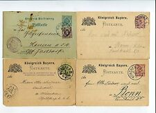 4 german postcards from bavaria and wurrtsmberg used postkarte