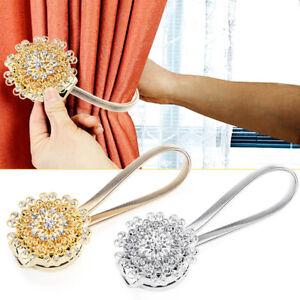 2X Magnetic Curtain Tiebacks Crystal Tie Backs Buckle Clips Holdbacks Hook Decor