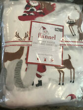 Pottery Barn Kids Organic Merry Santa Flannel Sheet Set Full NEW Christmas