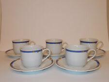 5 x PRELUDE blanc fine porcelaine tasses et soucoupes avec Edge Design-Belle