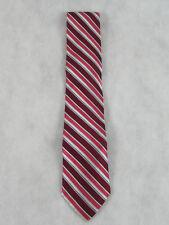 Bloomingdales Men's Store New Satin Stripe Silk Neck Tie, Red Multi, One Size