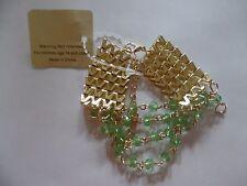 Gold Plated Chevron Chain Bracelet  w/Green Plastic hanging beads.