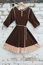 Vintage brown 60s 70s pleat pleated gypsy mod shift mini dress S