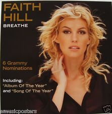 "FAITH HILL ""BREATHE"" AUSTRALIAN PROMO POSTER - Country Pop Music"