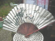 """VINTAGE 60"""" X 35"""" HAND PAINTED DUCKS ON CARD SIGNED CHINESE BAMBOO WALL FAN"""