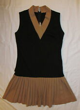 vtg 50's do 20's SAMUEL PARNES flapper tennis  pleated skirt stertchy dress M