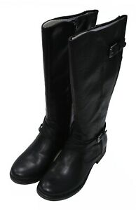 NIB - NATURALIZER Women's 'STANTON' Black SIDE-ZIP WIDE CALF SYNTHETIC BOOTS - 6