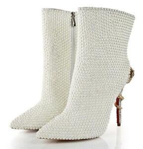 Women High Stiletto Heels Boots Rhinestone Snake Metal Decor Sequins Shoes A412