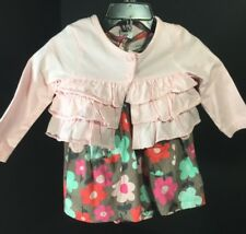 Carters Baby Girl Clothes 2 Piece Set Dress And Jacket SZ 9M Brown Pink Teal NEW