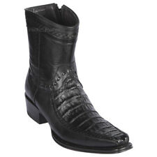 "Men's Los Altos Genuine Caiman Belly Ankle Boots Stitched Vamp 6"" Shaft"
