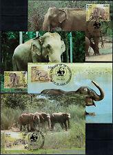 Sri Lanka 1986, Elefanten (MiNr. 753/56) je auf Maximumkarte mit ESSt. -2271-