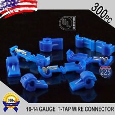 300 Pack T-Taps Blue 16-14 AWG Gauge Quick Slide Connectors Car Audio Alarm UL
