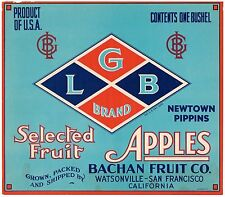 APPLE CRATE LABEL WATSONVILLE LGB BACHAN 1920 ORIGINAL CALIFORNIA VINTAGE PIPPIN
