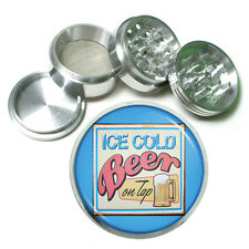 "Vintage Poster D249 Aluminum Herb Grinder 2.5"" 63mm 4 Piece Ice Cold Beer on Tap"