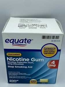 EQUATE, NICOTINE GUM, 4MG, STOP SMOKING AID, NEW OPEN BOX , 220 PIECES