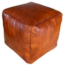 Square Moroccan Genuine Leather Boho Pouf Ottoman Footstool Pouffe 100 Handmade