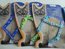 Cat Kitten Puppy Adjustable Harness & Lead Set Bones & Stars Various Colours