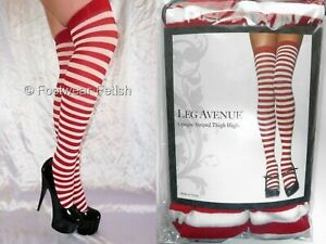 New  Red & White Candy Stripe Ringer Opaque Thigh Highs Leg Avenue 1 Size 8-14